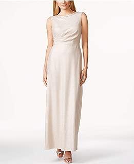 TAHARI Womens Beige Beaded Sleeveless Jewel Neck Full Length Evening Dress US Size: 12