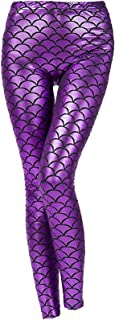 Rimi Hanger Ladies Metallic Shiny Mermaid Disco Legging Womens Fish Scale Stretchy Pants S/XXL