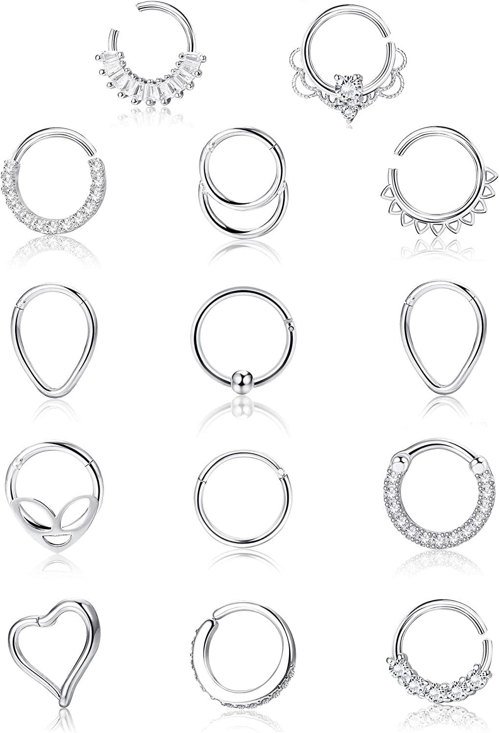 Jstyle 14Pcs 16G Stainless Steel Clicker Hinged Segment gift Rings Overseas parallel import regular item Ca