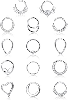 Jstyle 14Pcs 16G Stainless Steel Hinged Clicker Segment Rings Cartilage Earrings Septum Hoop Nose Rings Helix Daith Tragus...