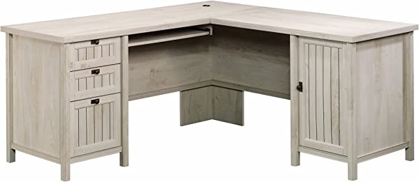 Sauder 419956 Costa L Desk Chalked Chestnut Finish