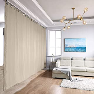TWOPAGES Ceiling Track Room Divider Curtain Kit with Blackout Curtain, Small A, 3 ft to 4ft 6in Wide x 8ft Tall (1 Panel, 5ft Wide by 8ft Tall, Beige)