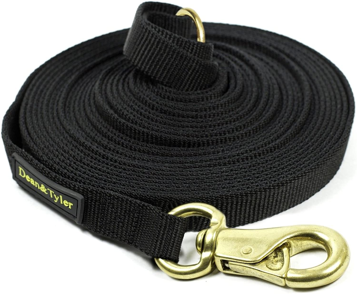 Dean & Tyler Nylon Track Double Ply Dog Leash with a Ring on Handle and Extra Strength Brass Snap Hook, 13Feet by 3 4Inch, Black