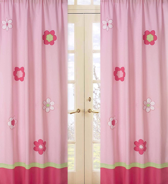 Sweet Jojo Designs 2-Piece Pink and Green Flower Window Treatment Panels