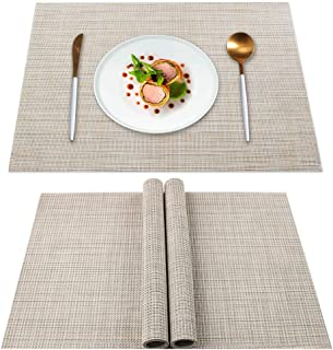 YISK Placemats Set of 4, Heat Insulation & Stain Resistant Washable Place Mats, Durable Non-Slip Kitchen Table Mats Placem...