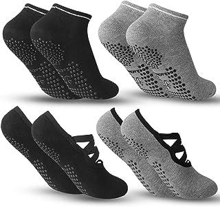 comprar comparacion Zacro 4Pcs Calcetines-Yoga Antideslizantes de Mujeres Deportivos para Ejercicio Interior,Cómodo Pilates,Yoga,Fitness,etc (...