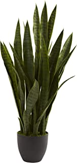Nearly Natural 4855 Sansevieria Plant with Black Planter, Green (Renewed)