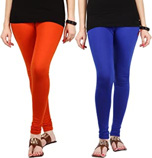 Pixie Women's/Girls Cotton Lycra 160 GSM 4 Way Stretchable Churidar Leggings Combo Orange and Blue (Pack of 2) - Free Size
