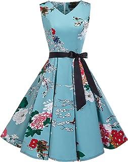 Bridesmay Women s V-Neck Audrey Hepburn 50s Vintage Elegant Floral  Rockabilly Swing Cocktail Party Dress 9f627c152