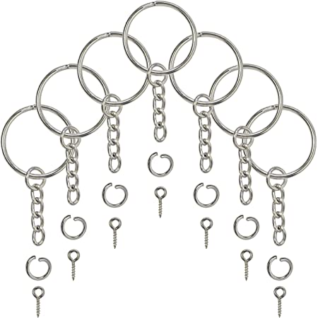 Key Chains for Craft Including 60 Pieces Keychain Rings with Open Jump Rings in 7 Colors and 600 Pieces Small Screw Eye Pins in 6 Colors DIY Crafts Key Chain Connector Accessories 660 Pieces