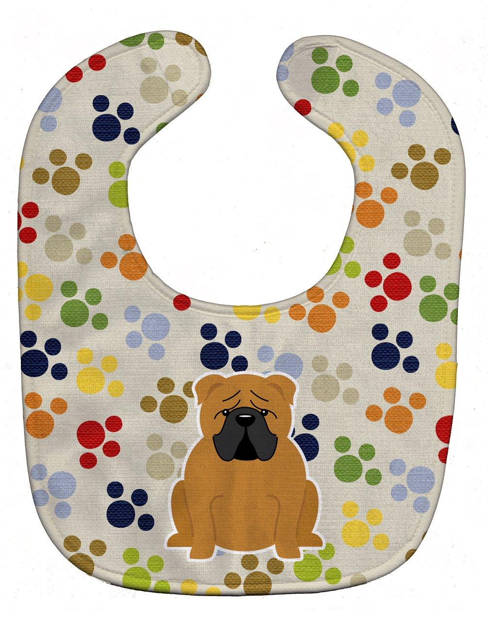 Caroline's Treasures BB5951BIB Pawprints English Bulldog Red Baby Bib, 10 x 13