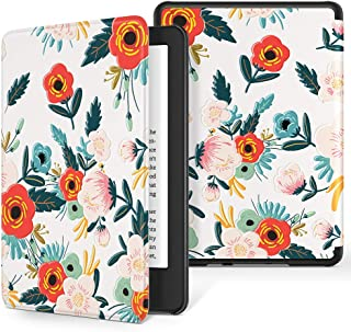 GVIEWIN Case for All-New Kindle 10th 2019, Flowers Pattern Leather PC Hard Shell Auto Wake/Sleep Protective Cover for Kindle 10 Generation E-Reader (Flowering/Reseda Green)