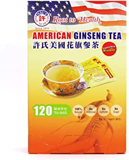 Hsu's Ginseng SKU 1032   American Ginseng Tea, 120ct   Cultivated Wisconsin American Ginseng Direct from Hsu's Ginseng Gar...