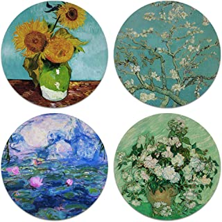 CARIBOU Coasters - Sunflowers Blue, Almond Blossom, Vase With Pink Roses By Vincent Van Gogh, Claude Monet Water Lilies Design Absorbent ROUND Fabric Felt Neoprene Coasters for Drinks, 4pcs Set