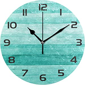 One Bear Vintage Teal Wall Clocks Battery Operated Non Ticking, Rustic Turquoise Green Wood Texture Silent Round Clocks for Farmhouse Bathroom Kitchen Decor