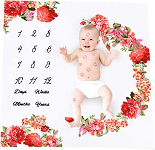 Baby Milestone coperta per neonati mensile misura altezza corona floreale coperta cornice foto puntelli Swaddling coperta panno sfondo per fotografia 101,6/x 101,6/cm