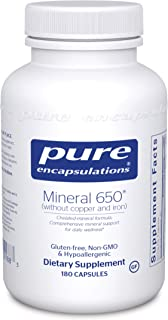 Pure Encapsulations - Mineral 650 Without Copper & Iron - Hypoallergenic Combination of Balanced Chelated-Minerals - 180 C...