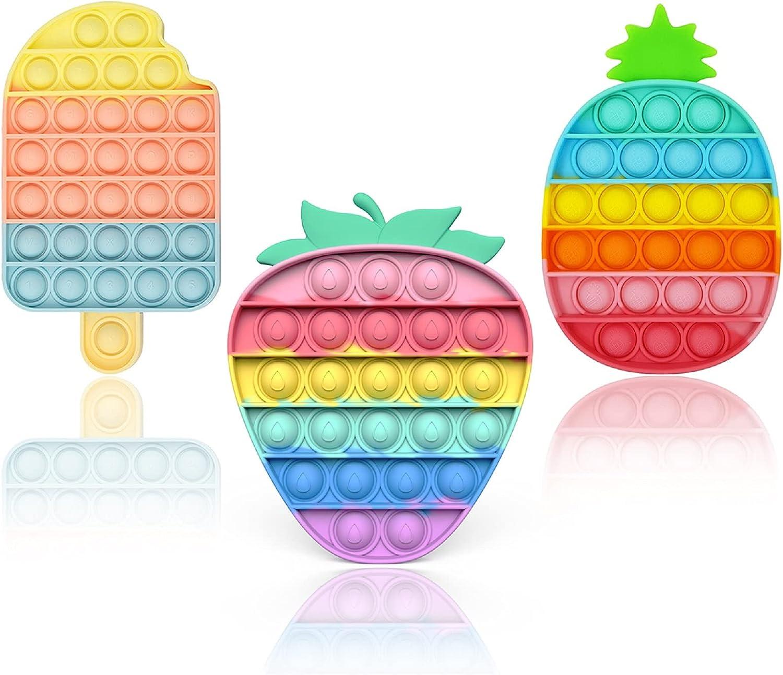 3Pcs Push Pop Bubble Fidget Sensory Toy, Ice Cream Popsicle Pop