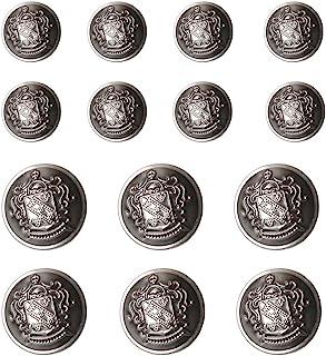 YaHoGa 14 PCS Antique Metal Blazer Buttons Set 20mm (4/5 inch) 15mm (3/5 inch) for Blazers, Suits, Sport Coat, Uniform, Ja...