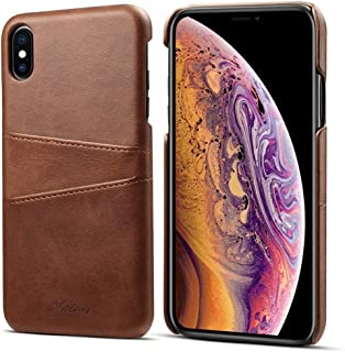 SHUANGRUIYUAN with Card Slots, Calf Texture Protective Case for iPhone Xs Max (Color : Coffee)
