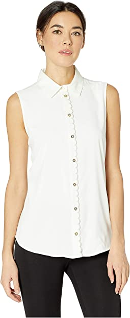 Collared Scallop Detail Sleeveless Woven