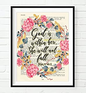 God Is Within Her, She Will Not Fall, Psalm 46:5 Art Print, Unframed, Vintage Bible Page Verse Scripture, Christian Floral Wall Art Decor Poster, 5x7