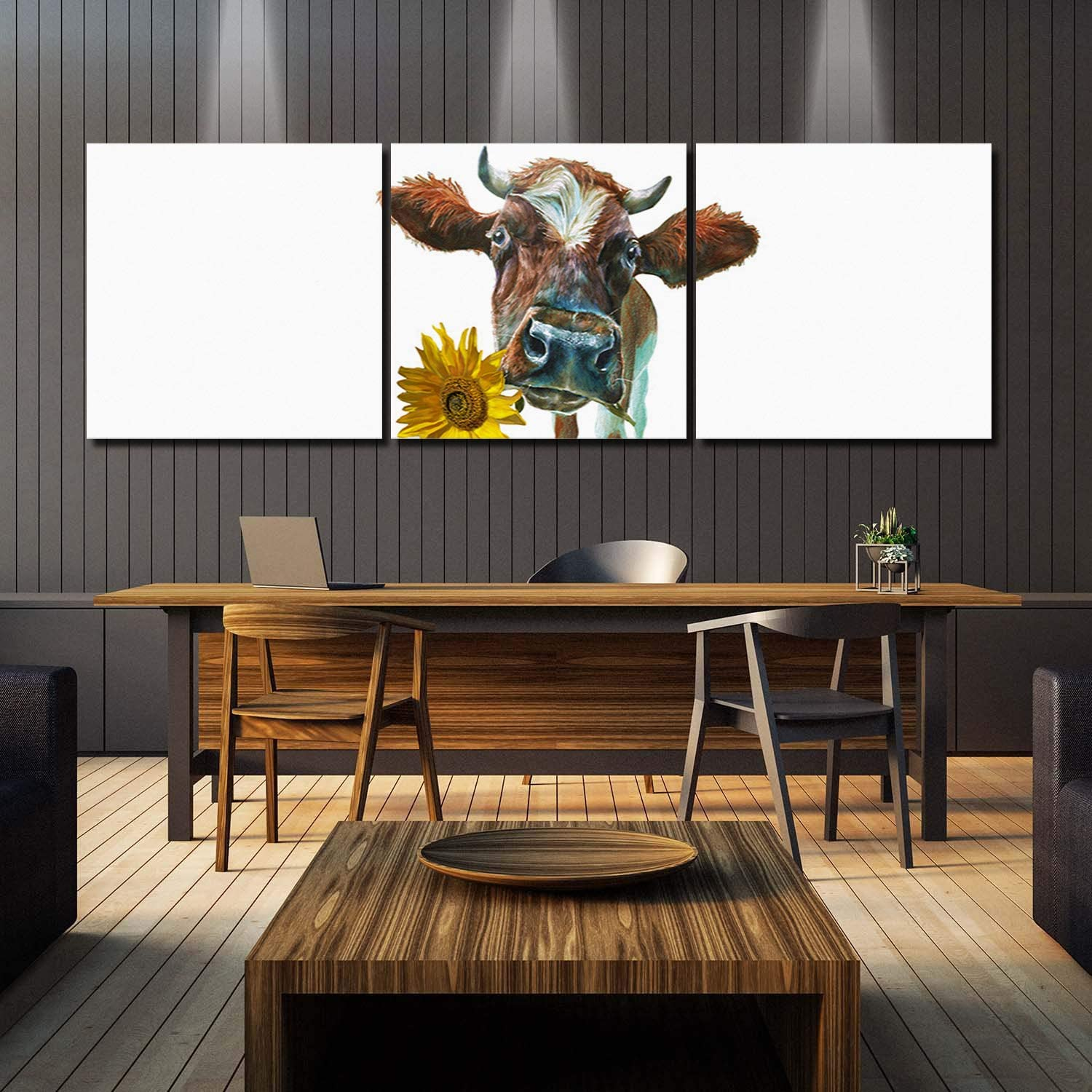 Framed Wall Be super welcome Art Super sale period limited Cattle with Sunflowers Prints Pai Canvas 3 Panel