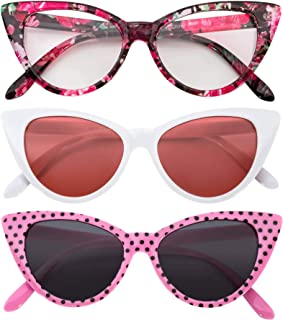 Ladies 3 pairs Cat Eye Sunglasses Mix colors Cateye Glasses Vintage