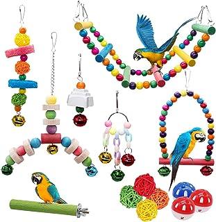 MQUPIN Lot de 14 Jouets pour Oiseaux à Marcher, Balançoire, Échelle, Bois Perchoirs, Sepak Takraw, Cloches, Décoration des...