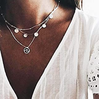 Evazen Boho Coin Layered Necklace Silver Hollow Circle Pendant Necklaces Chain Jewelry for Women and Girls