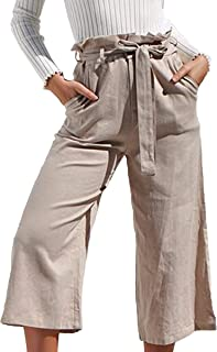 ECOWISH Womens Soft Palazzo Wide Leg Pant with Pockets High Waist Casual Loose Flowy Pants with Belt