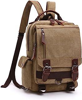Mochila Hombres Mujer Lona Bolso de Bandolera La Bolsa de Mensajero Bolsa de Lona Bolsa de Hombro Messenger Bag Backpack. (Caqui)