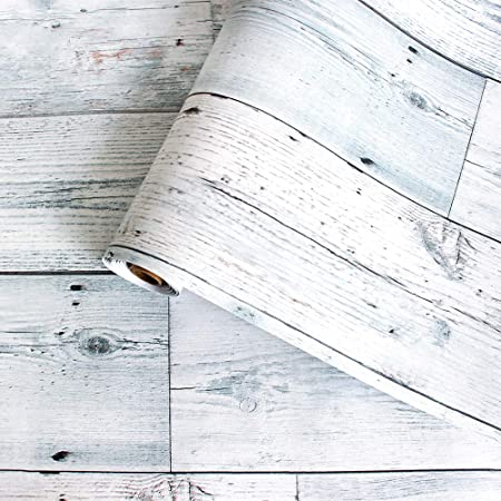 """17.71"""" X 118"""" Peel and Stick Wallpaper White/Gray/Blue Distressed Wood Wallpaper Shiplap Wallpaper Decorative Self Adhesive Reclaimed Contact Paper Removable Vintage Wood Plank Wallpaper"""