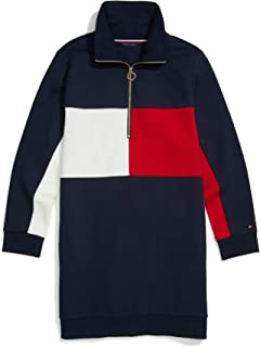 Tommy Hilfiger Women's Adaptive Sweatshirt Dress with Elongated Collar Zipper