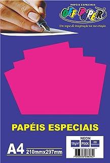 Off Paper 10424 Papel A4, Rosa (Neon Pink) 180g, 20 folhas