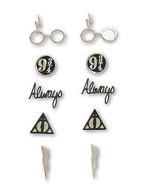 Harry Potter Symbols Earrings 5 Pair Set, No Color, Size No Size