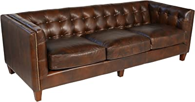 Joseph Allen Aristocrat Sofa, Cigar Brown Leather