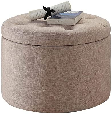 """1 Piece 16.25"""" H x 22"""" D Transitional Durable Faux Suede Leather Sturdy Wood Frame Solid Print Tan Shoe Storage Ottoman, Modern & Contemporary Classic Button Tufted Design Round Ottoman"""
