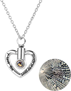 RNUIE Ashes Necklace,Heart Projection Memorial Pendant,Cremation Jewelry for Ashes 100 Kinds I Love You with Gift Box