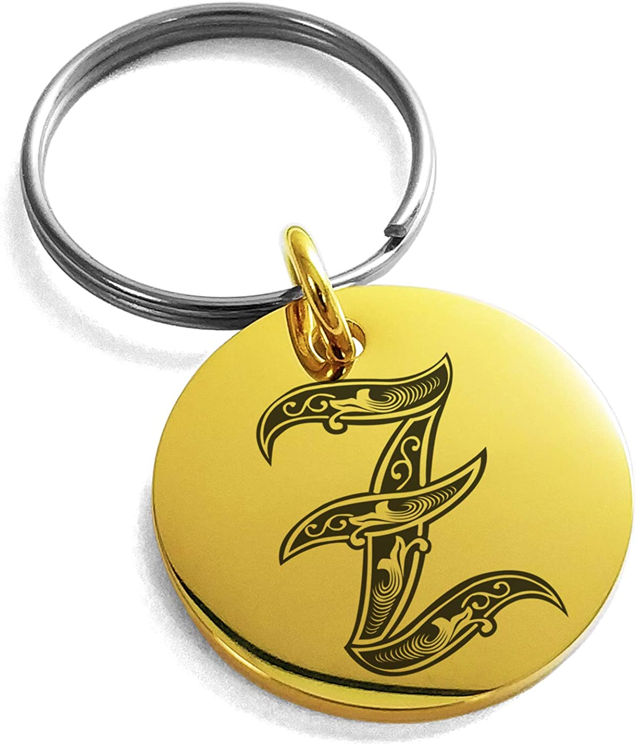 Tioneer Stainless Steel Letter Z Initial Royal Monogram Small Medallion Circle Charm Keychain Keyring