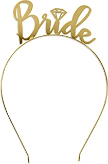 Bride Tiara Headband Gold Wedding - Bridal Shower, Bachelorette Party Tiara Headband HdBd(Bride) GLD