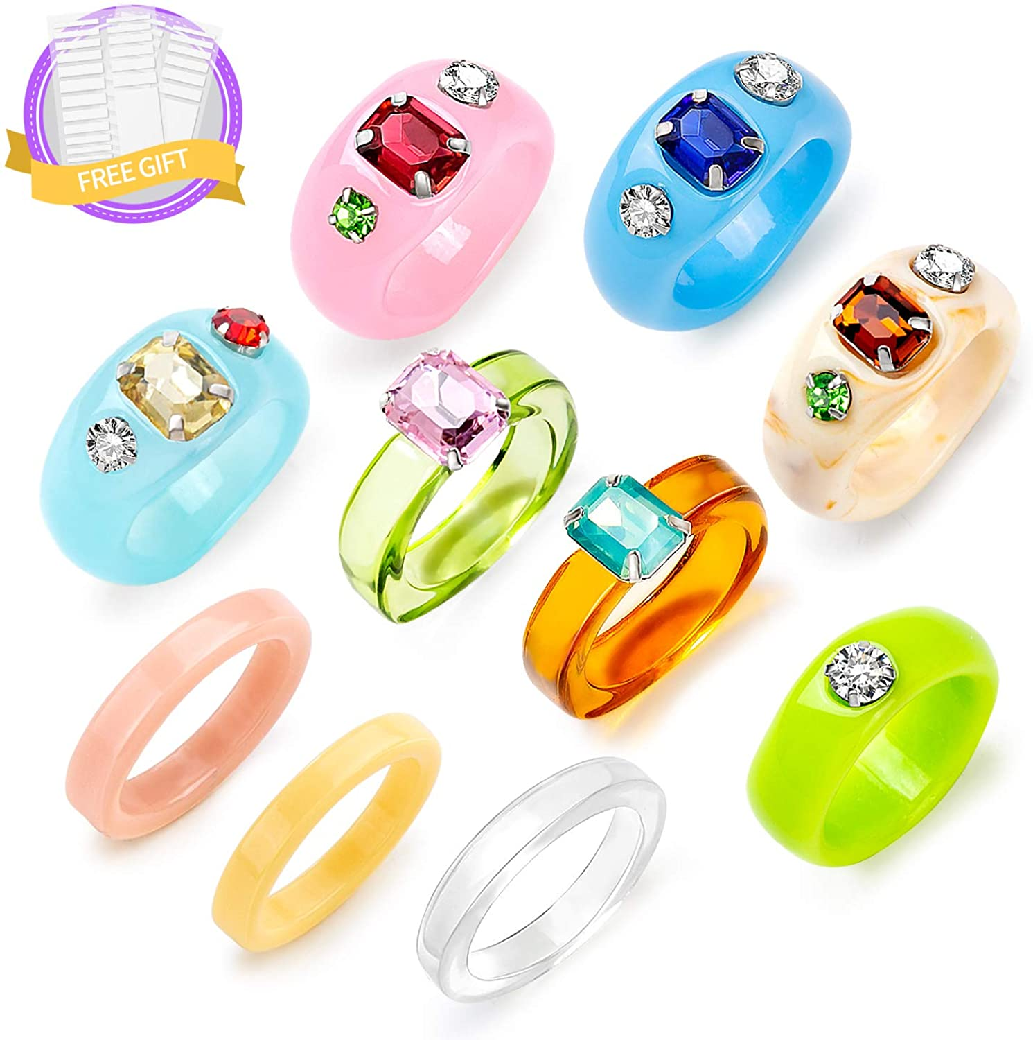 Sobly Resin Acrylic Ring for Women Teen Girls, Chunky Rings Colorful,Plastic Rings,Vintage Stacking Rings,Cute Square Transparent Rings,Trendy Jewelry