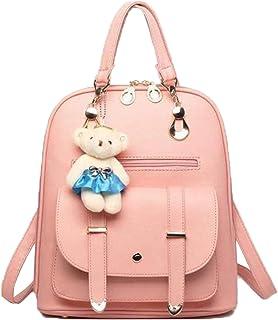 Floki Women Leather Backpacks Students School bags for Girls Teenagers Travel Rucksack Small Shoulder Bag