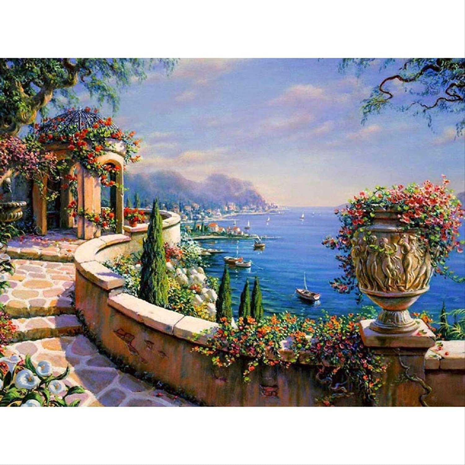 Adult Paint by Numbers Kits Yuan Ou The Mediterranean Sea DIY Painging by Numbers Kit coloring Picture Wall Art Canvas Painting Home Decor Artwork 60x75cm DIY Frame