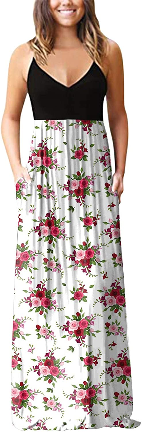 Dresses for Women Casual, Womens Summer Sleeveless V-Neck Floral Patchwork Boho Pleated Long Maxi Dress Party Cocktail