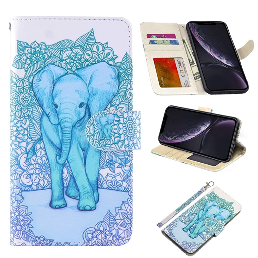 UrSpeedtekLive iPhone XR Case 6.1 inch(2018), iPhone XR Premium PU Leather Wristlet Flip Wallet Case Cover with Card Slots & Stand-Elephant(Official Micklyn Le Feuvre Product)