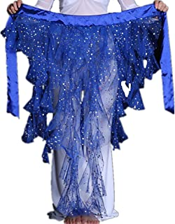 2019 Sexy Foxtail Chiffon Sequins Belly Dance Hip Scarf Net Skirt Pole Dance Costumes Mother's Day Gift