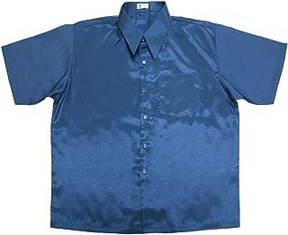 Thai Silk Lofbaz Men Casual Camp Work Button Down Plain Short Sleeve Shirts
