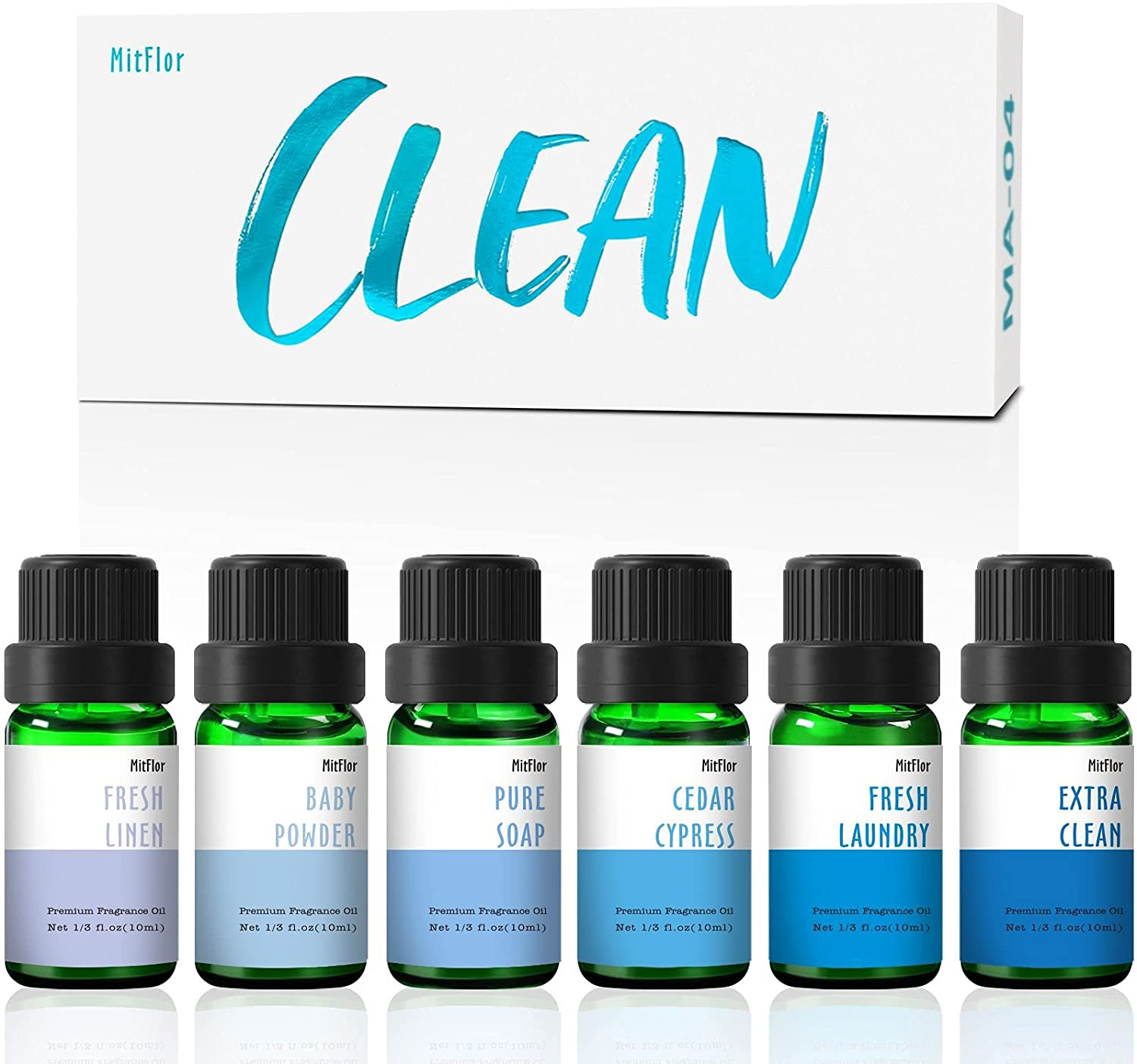 Fragrance Oils, MitFlor Clean Collection of Scented Oils, Refreshing Autumn Aromas, Essential Oils for Diffuser, Soap & Candle Making Scents, Baby Powder, Pure Soap, Fresh Laundry and More, 6x10ml