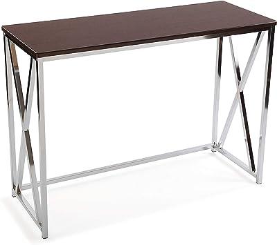 Versa Modena Meuble d'Entrée Étroit pour l'Entrée ou Couloir, Table Console, Dimensions (H x l x L) 76 x 40,5 x 106,5 cm, Bois et métal, Couleur Marron